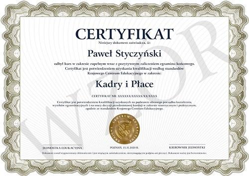certyfikat ukończenia kursu kadry i płace
