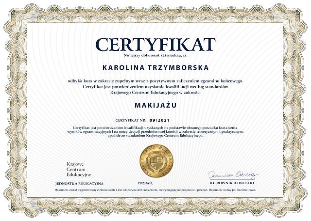 certyfikat ukończenia kursu makijażu