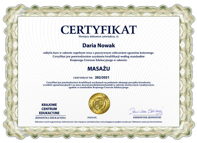 certyfikat ukończenia kursu masażu