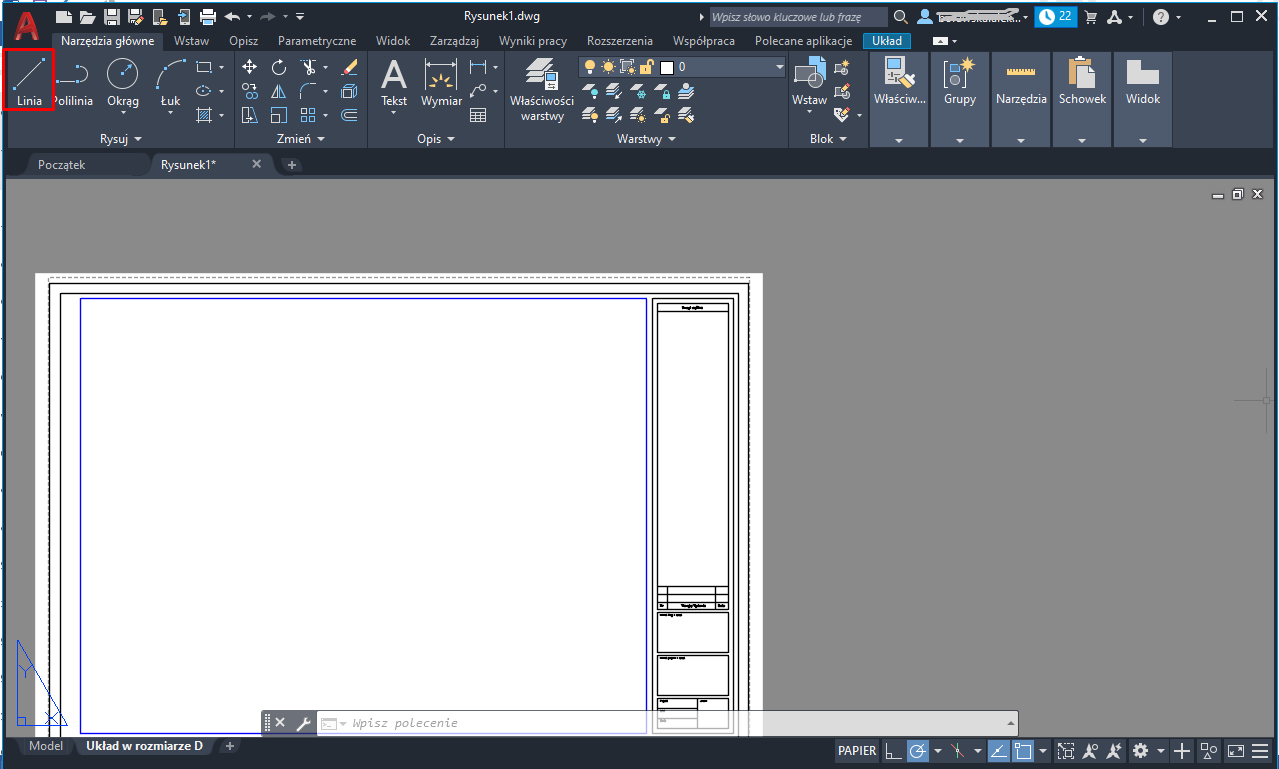 AutoCAD – rysowanie linii