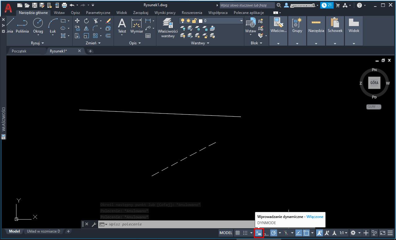 AutoCAD – rysowanie linii pod kątem